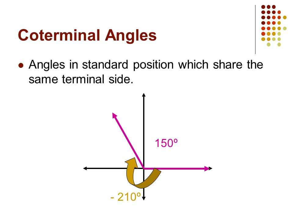 Translating Rotations to Degrees Give the angle measure which is represented by each rotation: 5.5 rotations clockwise 3.3 rotations counterclockwise