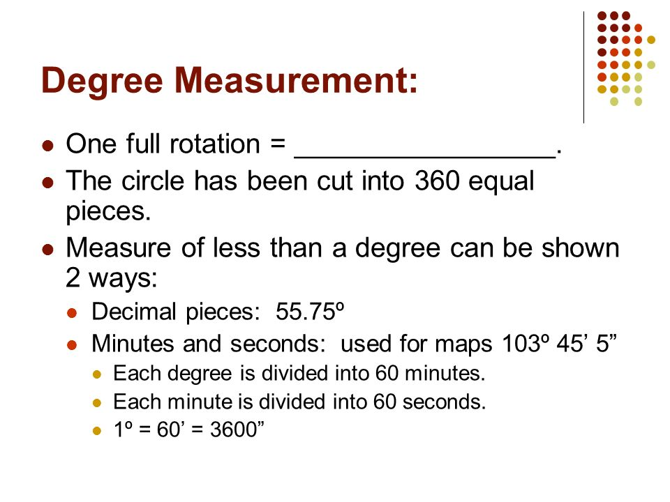 Angle Direction: Angles can be measured in two directions. Counter-clockwise is positive. Clockwise is negative.