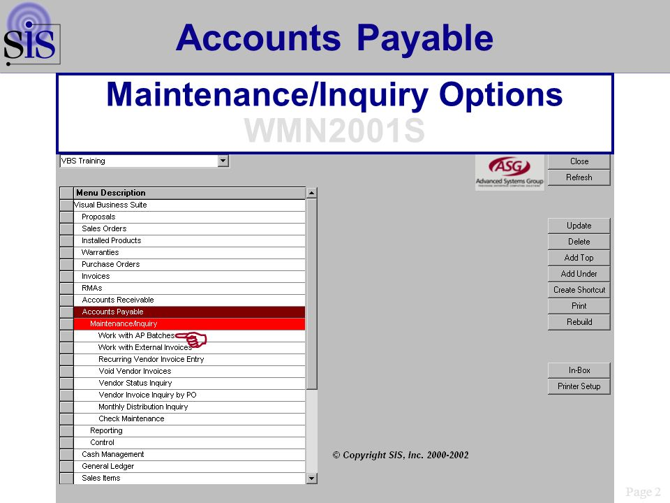 Page 2 Accounts Payable Maintenance/Inquiry Options WMN2001S