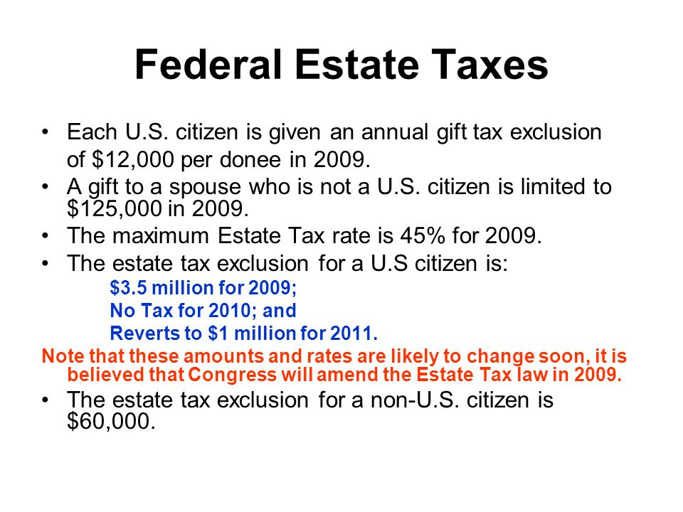 Federal Estate Taxes Each U.S.