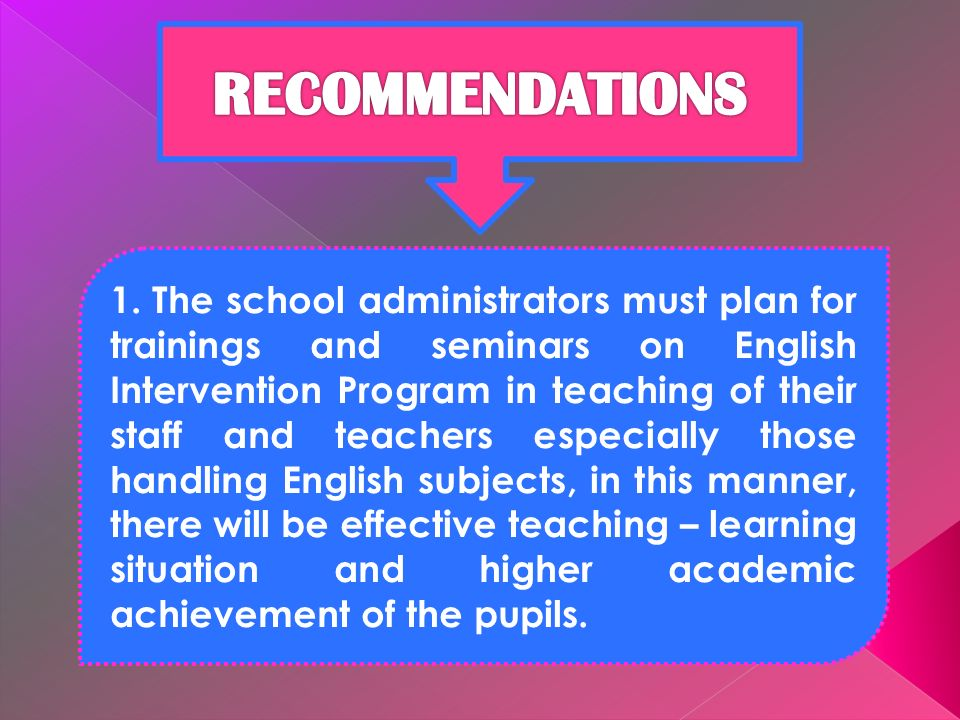 1. The school administrators must plan for trainings and seminars on English Intervention Program in teaching of their staff and teachers especially t