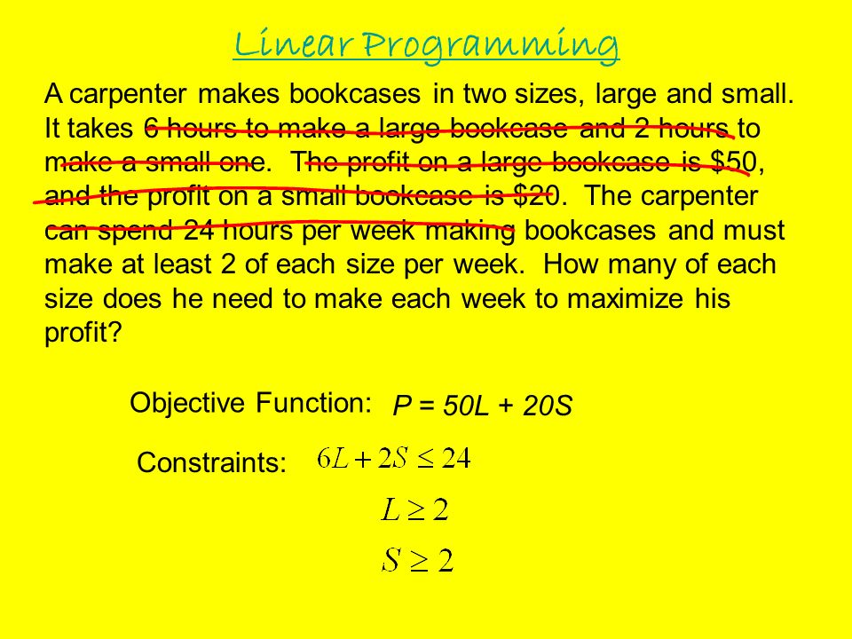 Objective Function: Constraints: P = 50L + 20S ______ Large & _____ Small Max Profit $__________