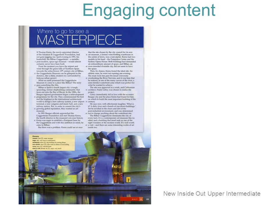 Engaging content New Inside Out Upper Intermediate
