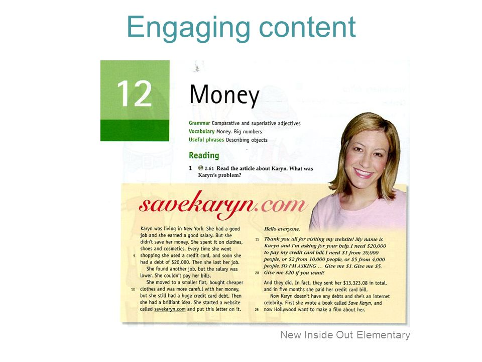 Engaging content New Inside Out Elementary