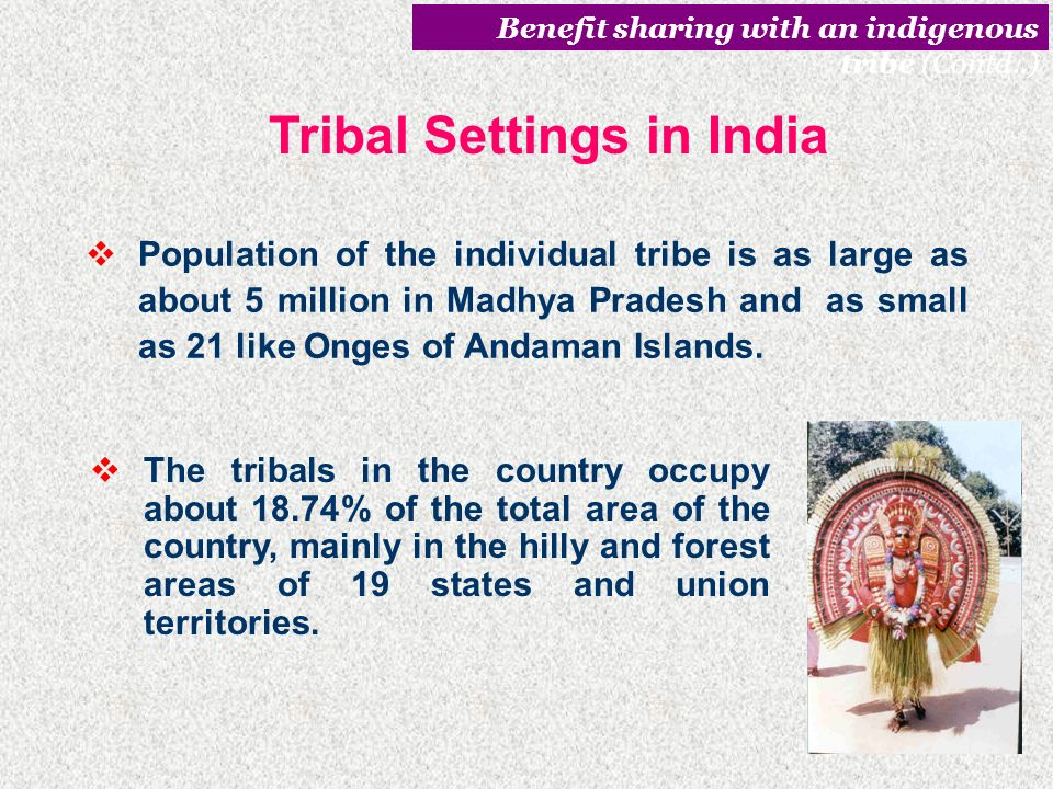 Tribal Settings in India India has over 70 million tribals belonging to over 550 communities inhabiting in 5000 villages located in and around forests