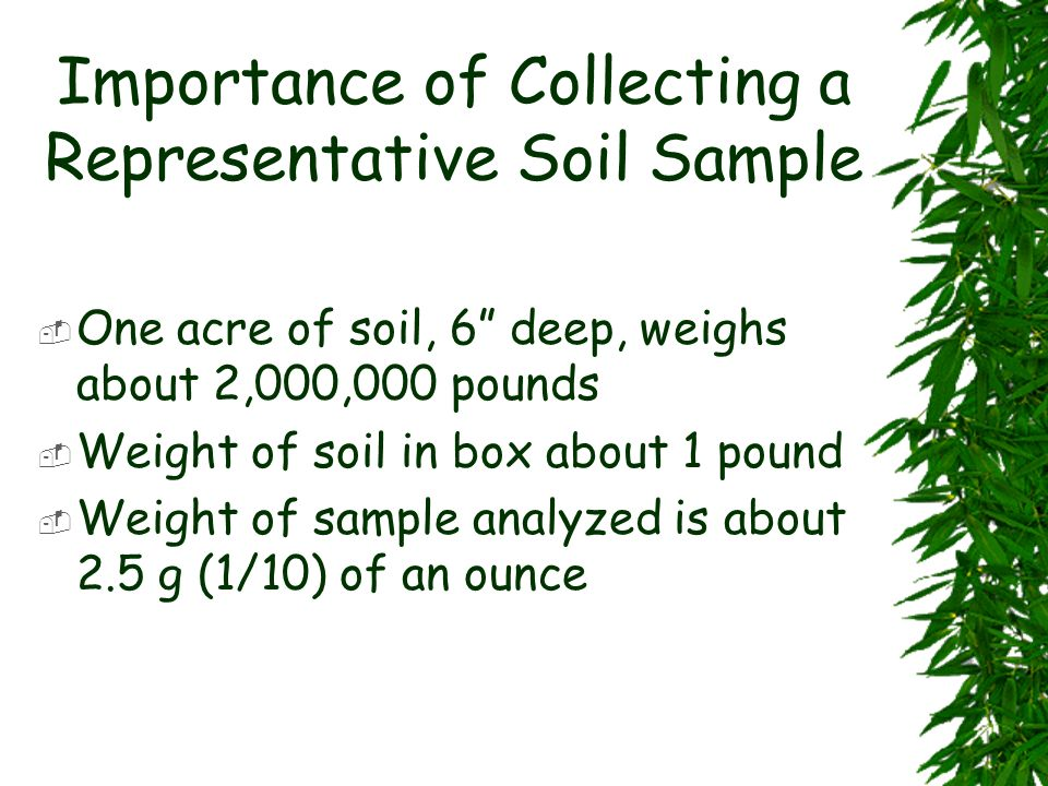 Importance of Collecting a Representative Soil Sample One acre of soil, 6 deep, weighs about 2,000,000 pounds Weight of soil in box about 1 pound Weig
