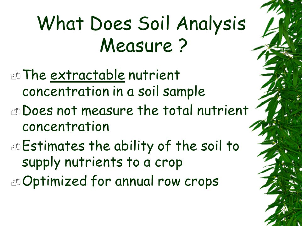 What Does Soil Analysis Measure ? The extractable nutrient concentration in a soil sample Does not measure the total nutrient concentration Estimates