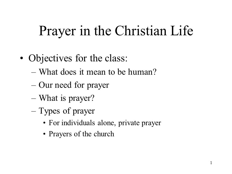 1 Prayer in the Christian Life Objectives for the class: –What does it mean to be human? –Our need for prayer –What is prayer? –Types of prayer For in
