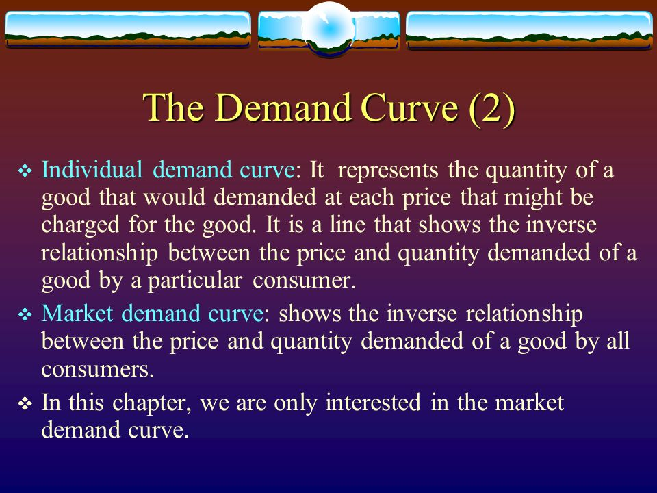 The Demand Curve (2) Individual demand curve: It represents the quantity of a good that would demanded at each price that might be charged for the goo