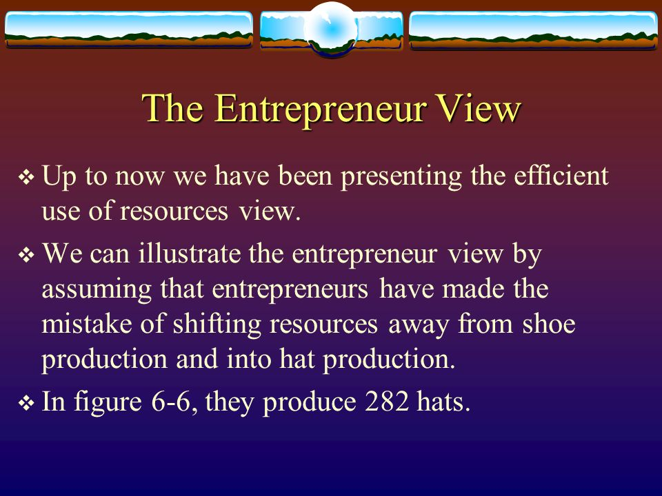 The Entrepreneur View Up to now we have been presenting the efficient use of resources view. We can illustrate the entrepreneur view by assuming that