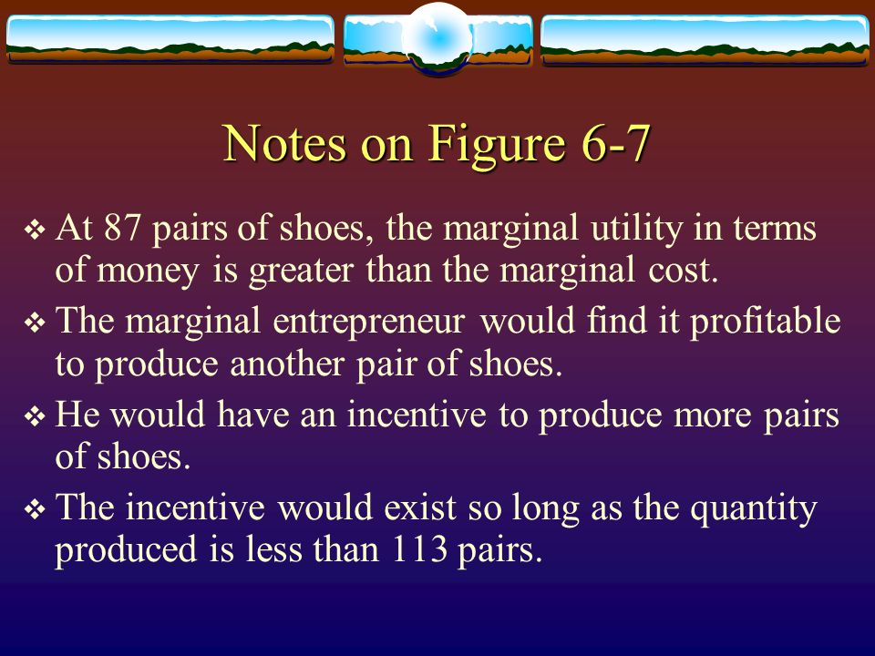 Notes on Figure 6-7 At 87 pairs of shoes, the marginal utility in terms of money is greater than the marginal cost. The marginal entrepreneur would fi