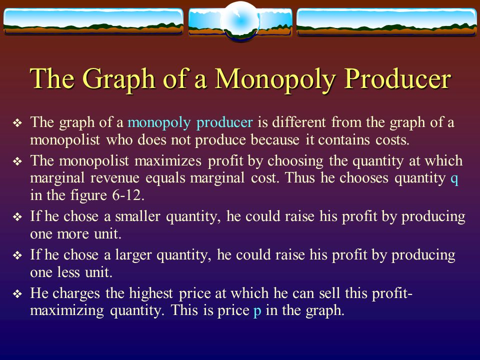 The Graph of a Monopoly Producer The graph of a monopoly producer is different from the graph of a monopolist who does not produce because it contains