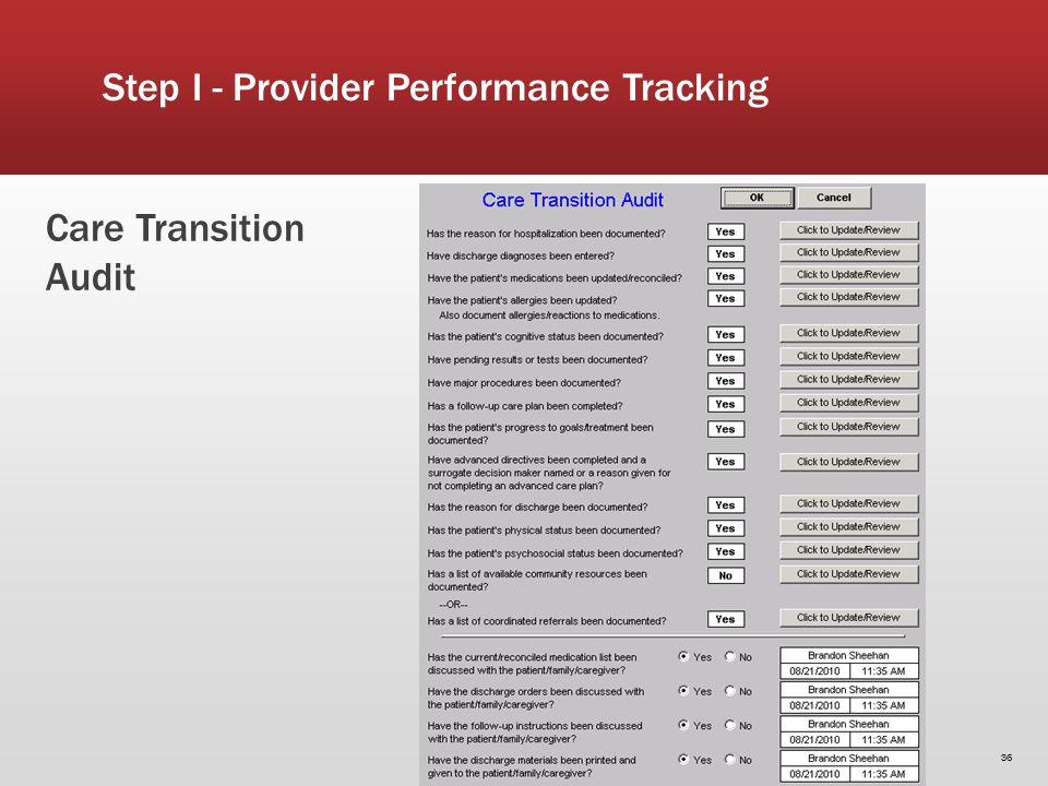Care Transition Audit 36 Step I - Provider Performance Tracking