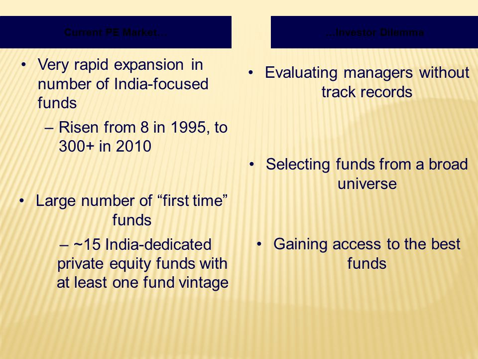 Very rapid expansion in number of India-focused funds –Risen from 8 in 1995, to 300+ in 2010 …Investor DilemmaCurrent PE Market… Large number of first time funds –~15 India-dedicated private equity funds with at least one fund vintage Evaluating managers without track records Selecting funds from a broad universe Gaining access to the best funds
