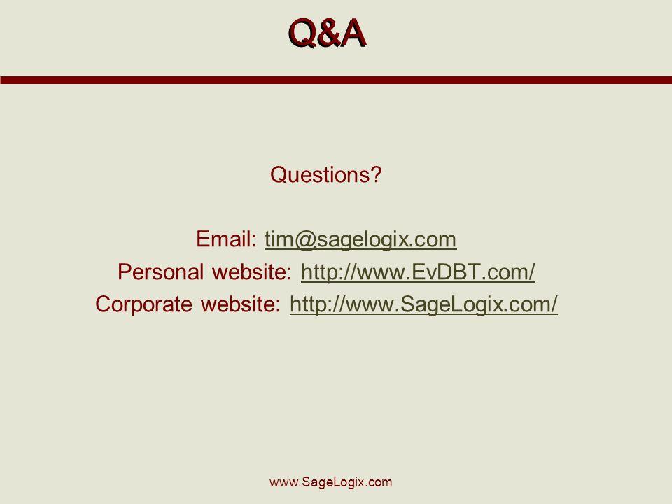 www.SageLogix.com Q&A Questions.