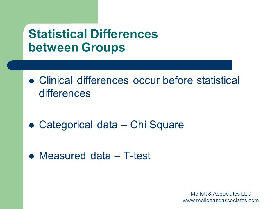 Mellott & Associates LLC www.mellottandassociates.com Statistical Differences between Groups Clinical differences occur before statistical differences