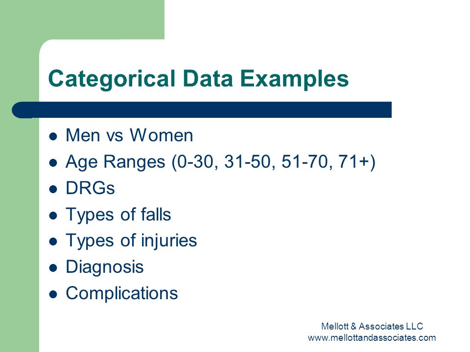 Mellott & Associates LLC www.mellottandassociates.com Categorical Data Examples Men vs Women Age Ranges (0-30, 31-50, 51-70, 71+) DRGs Types of falls