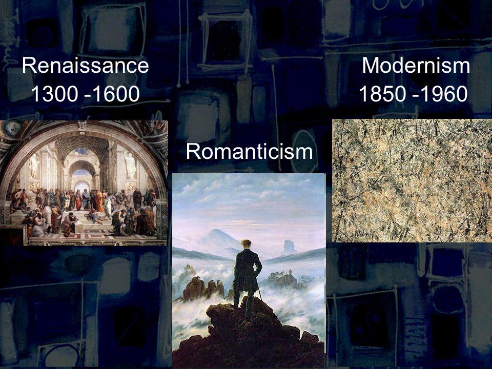 RenaissanceModernism 1300 -16001850 -1960 Romanticism
