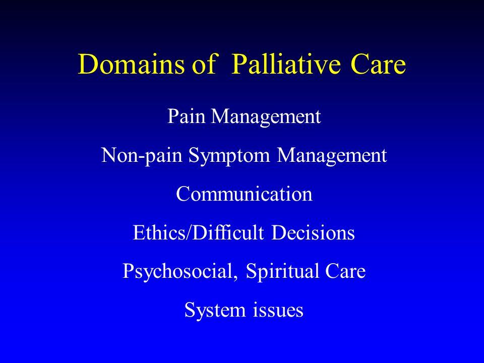 Domains of Palliative Care Pain Management Non-pain Symptom Management Communication Ethics/Difficult Decisions Psychosocial, Spiritual Care System is