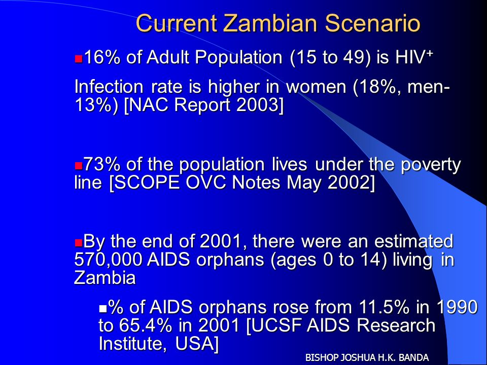 Current Zambian Scenario 16% of Adult Population (15 to 49) is HIV + 16% of Adult Population (15 to 49) is HIV + Infection rate is higher in women (18