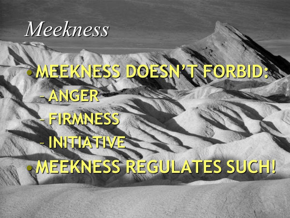 Meekness MEEKNESS DOESNT FORBID:MEEKNESS DOESNT FORBID: –ANGER –FIRMNESS –INITIATIVE MEEKNESS REGULATES SUCH!MEEKNESS REGULATES SUCH!