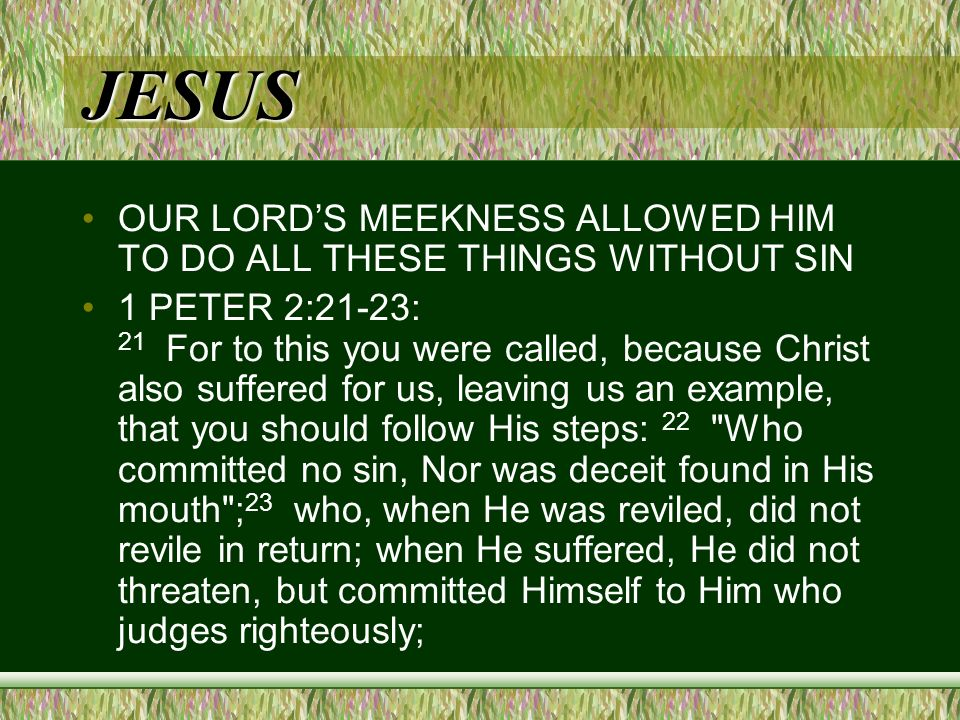JESUS OUR LORDS MEEKNESS ALLOWED HIM TO DO ALL THESE THINGS WITHOUT SIN 1 PETER 2:21-23: 21 For to this you were called, because Christ also suffered for us, leaving us an example, that you should follow His steps: 22 Who committed no sin, Nor was deceit found in His mouth ; 23 who, when He was reviled, did not revile in return; when He suffered, He did not threaten, but committed Himself to Him who judges righteously;