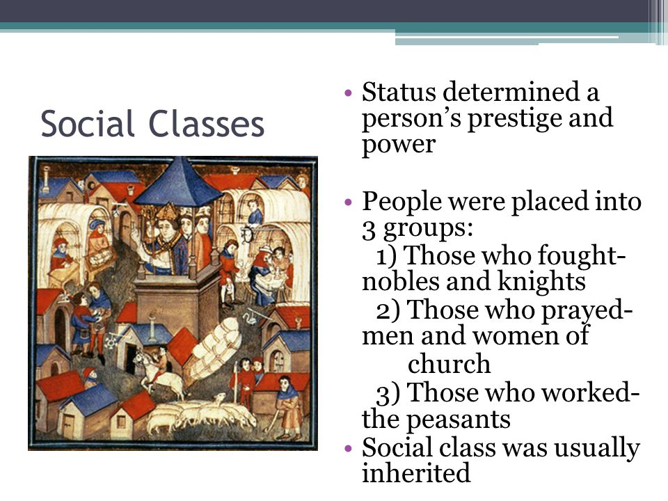 Social Classes Status determined a persons prestige and power People were placed into 3 groups: 1) Those who fought- nobles and knights 2) Those who prayed- men and women of church 3) Those who worked- the peasants Social class was usually inherited