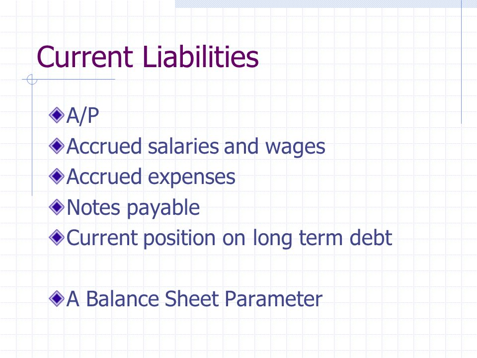 Current Liabilities A/P Accrued salaries and wages Accrued expenses Notes payable Current position on long term debt A Balance Sheet Parameter