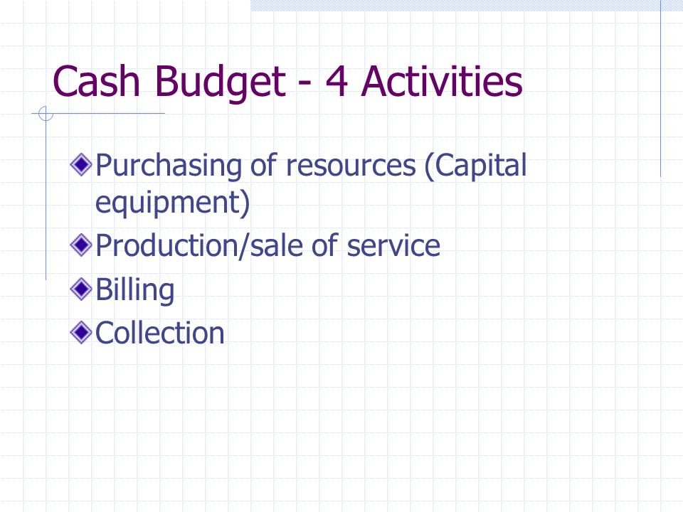 Cash Budget - 4 Activities Purchasing of resources (Capital equipment) Production/sale of service Billing Collection