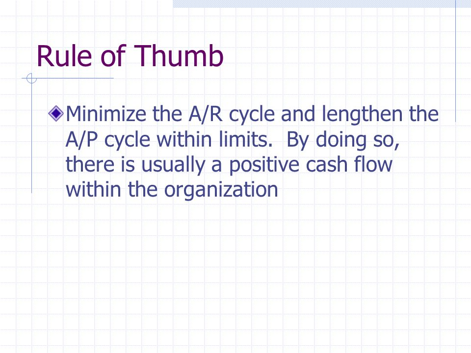 Rule of Thumb Minimize the A/R cycle and lengthen the A/P cycle within limits.