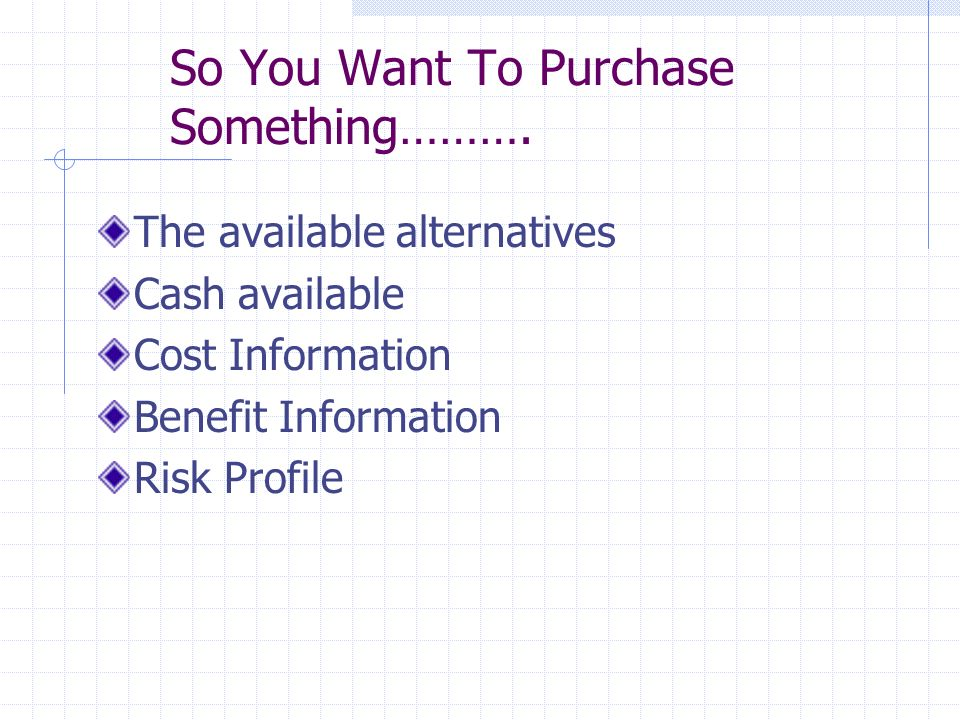 So You Want To Purchase Something……….