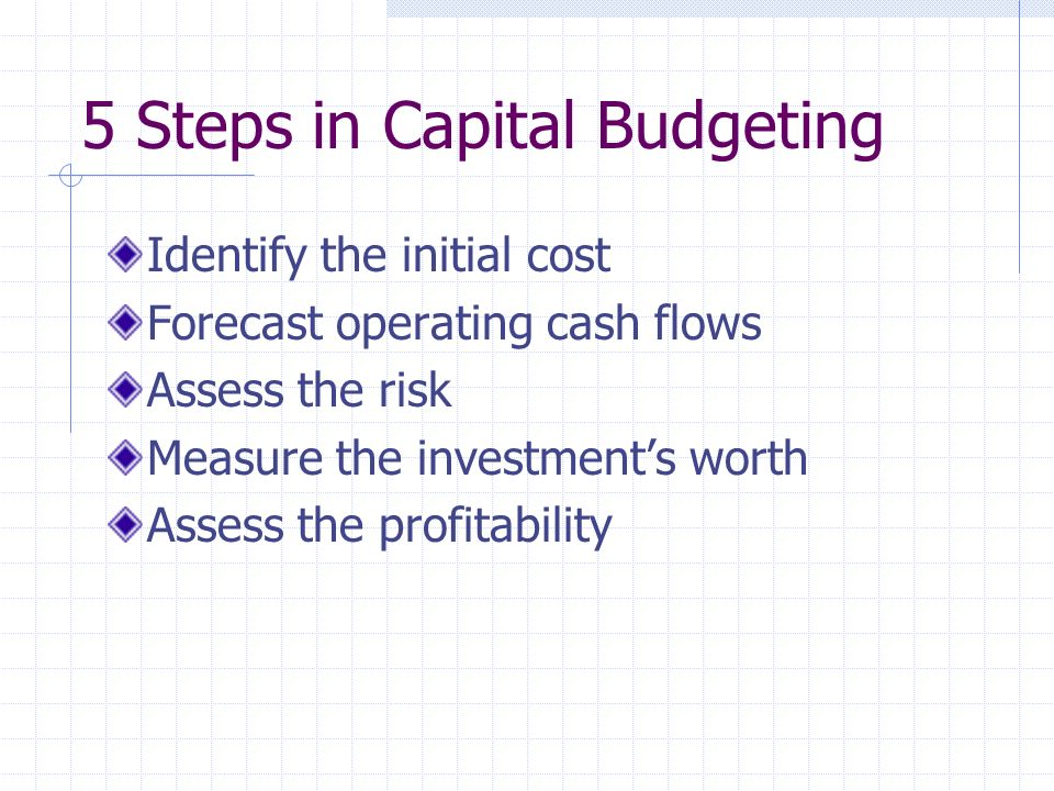 5 Steps in Capital Budgeting Identify the initial cost Forecast operating cash flows Assess the risk Measure the investments worth Assess the profitability