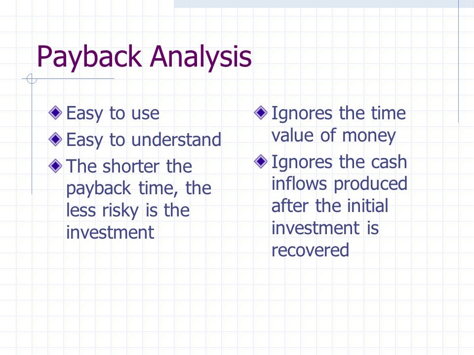 Payback Analysis Easy to use Easy to understand The shorter the payback time, the less risky is the investment Ignores the time value of money Ignores the cash inflows produced after the initial investment is recovered