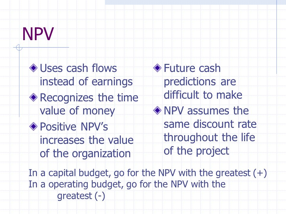 NPV Uses cash flows instead of earnings Recognizes the time value of money Positive NPVs increases the value of the organization Future cash predictions are difficult to make NPV assumes the same discount rate throughout the life of the project In a capital budget, go for the NPV with the greatest (+) In a operating budget, go for the NPV with the greatest (-)