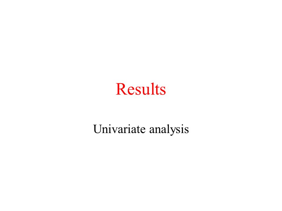 Results Univariate analysis