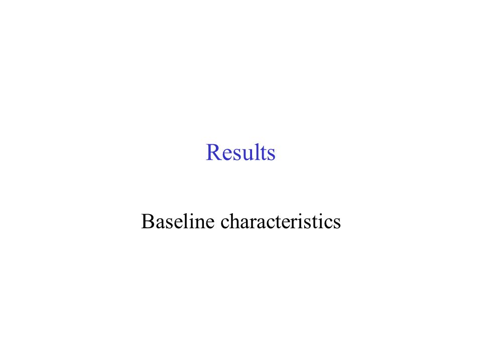 Results Baseline characteristics