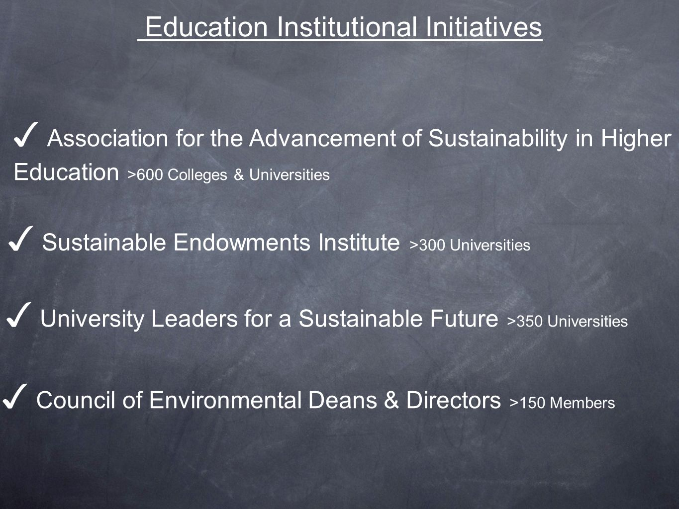 Education Institutional Initiatives Association for the Advancement of Sustainability in Higher Education >600 Colleges & Universities Sustainable Endowments Institute >300 Universities University Leaders for a Sustainable Future >350 Universities Council of Environmental Deans & Directors >150 Members