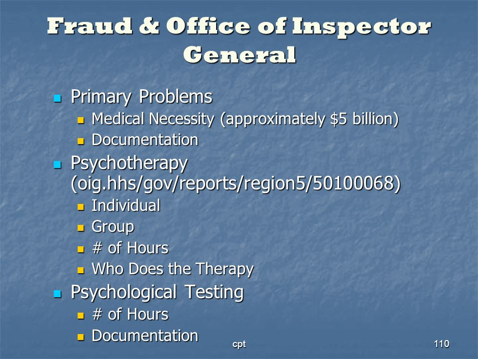 cpt110 Fraud & Office of Inspector General Primary Problems Primary Problems Medical Necessity (approximately $5 billion) Medical Necessity (approxima