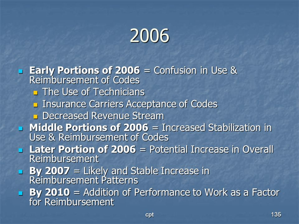 cpt135 2006 Early Portions of 2006 = Confusion in Use & Reimbursement of Codes Early Portions of 2006 = Confusion in Use & Reimbursement of Codes The