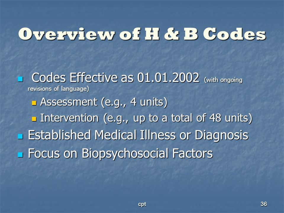 cpt36 Overview of H & B Codes Codes Effective as 01.01.2002 (with ongoing revisions of language) Codes Effective as 01.01.2002 (with ongoing revisions