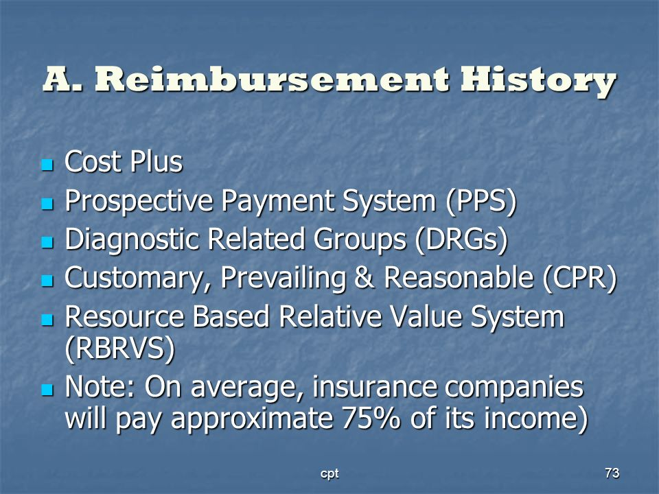 cpt73 A. Reimbursement History Cost Plus Cost Plus Prospective Payment System (PPS) Prospective Payment System (PPS) Diagnostic Related Groups (DRGs)