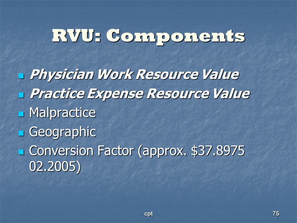 cpt75 RVU: Components Physician Work Resource Value Physician Work Resource Value Practice Expense Resource Value Practice Expense Resource Value Malp