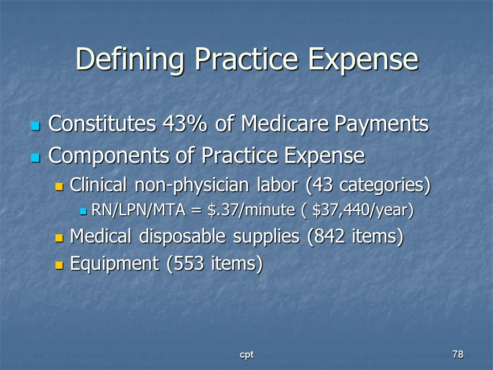 cpt78 Defining Practice Expense Constitutes 43% of Medicare Payments Constitutes 43% of Medicare Payments Components of Practice Expense Components of