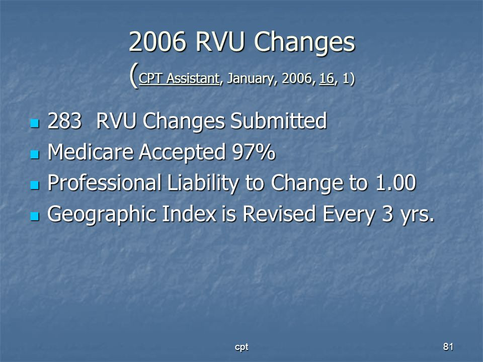 cpt81 2006 RVU Changes ( CPT Assistant, January, 2006, 16, 1) 283 RVU Changes Submitted 283 RVU Changes Submitted Medicare Accepted 97% Medicare Accep