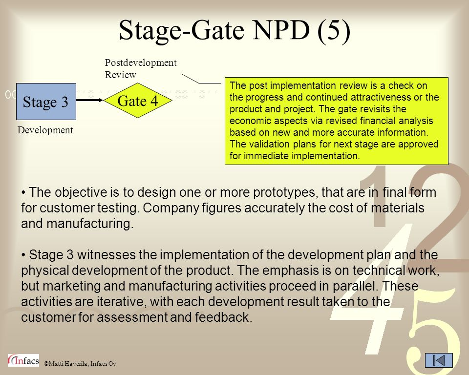 ©Matti Haverila, Infacs Oy Stage-Gate NPD (5) Stage 3 Gate 4 Postdevelopment Review Development The objective is to design one or more prototypes, tha