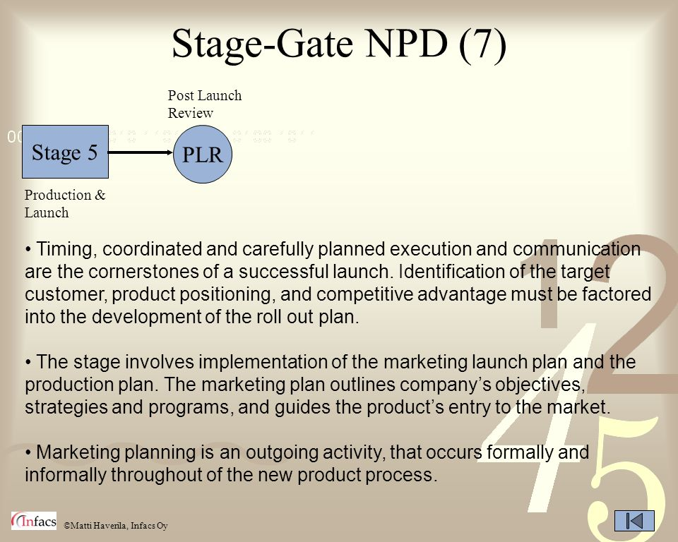©Matti Haverila, Infacs Oy Stage-Gate NPD (7) Stage 5 PLR Post Launch Review Production & Launch Timing, coordinated and carefully planned execution a