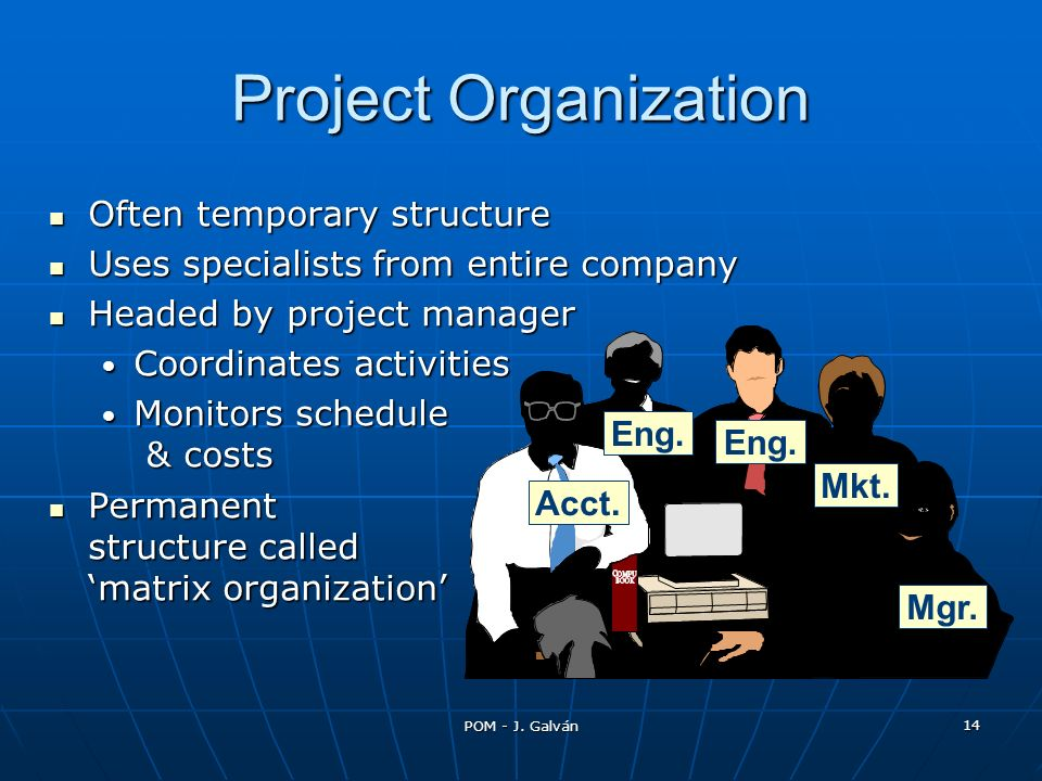 POM - J. Galván 14 Acct. Eng. Mkt. Mgr. Project Organization Often temporary structure Often temporary structure Uses specialists from entire company