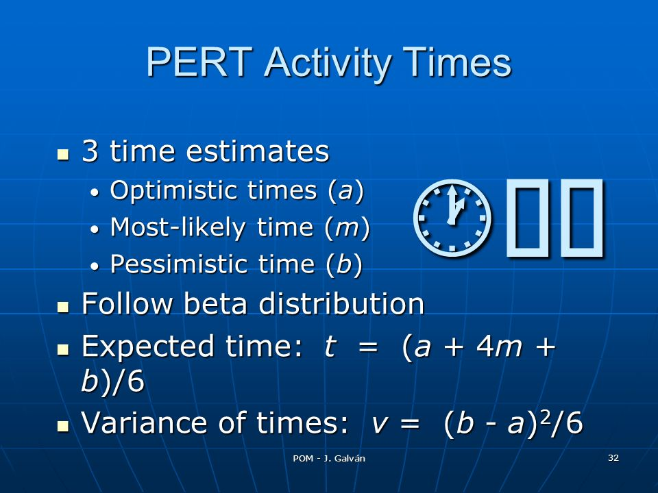 POM - J. Galván 32 3 time estimates 3 time estimates Optimistic times (a) Optimistic times (a) Most-likely time (m) Most-likely time (m) Pessimistic t