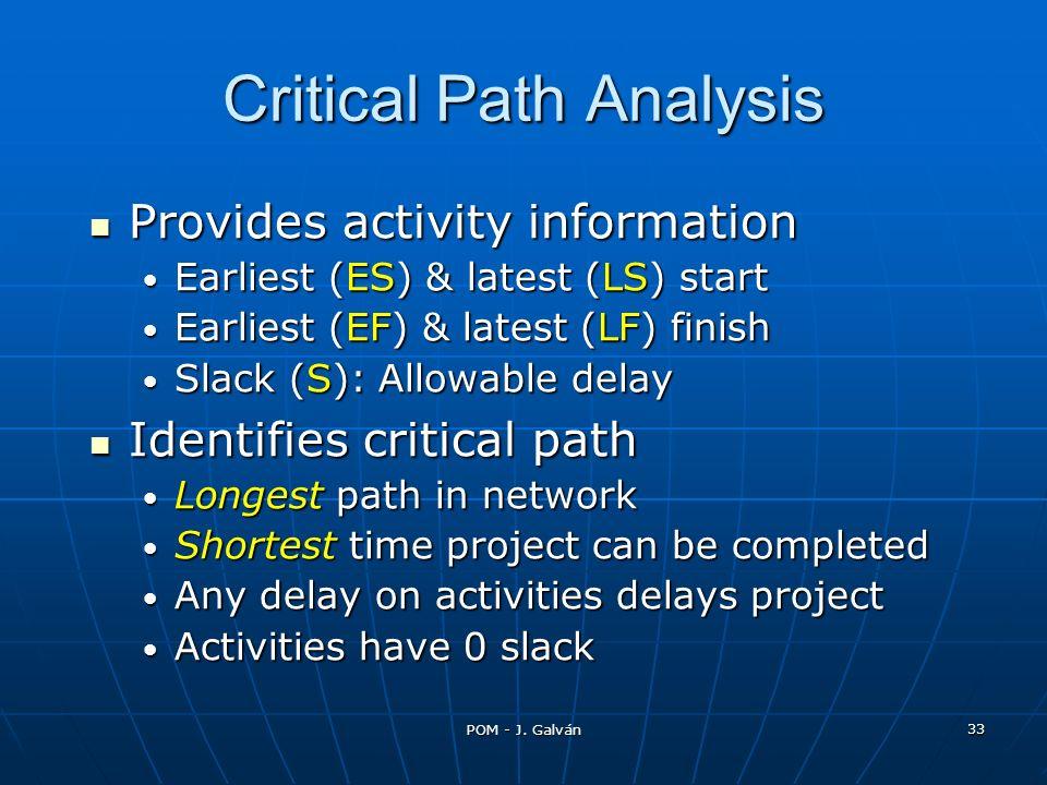 POM - J. Galván 33 Provides activity information Provides activity information Earliest (ES) & latest (LS) start Earliest (ES) & latest (LS) start Ear