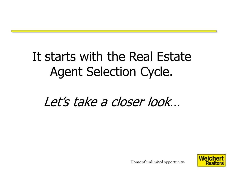 Home of unlimited opportunity. It starts with the Real Estate Agent Selection Cycle.